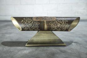 Altavoz de bambú Amalur modelo tallado ROSA